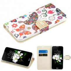 LG K8 Butterfly Wonderland Diamante Wallet with Diamante Belt