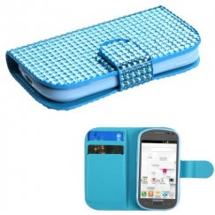Samsung Galaxy Exhibit Light Blue Diamonds Book-Style Wallet with Card Slot