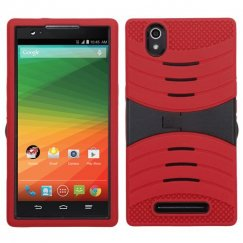 ZTE ZMax Black/Red Wave Symbiosis Case with Horizontal Stand