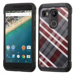 LG Nexus 5X Maroon/Gray Diagonal Plaid/Black Astronoot Case