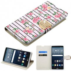 LG G Stylo Pink Fresh Roses Diamante Wallet with Diamante Belt
