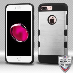 Apple iPhone 8 Plus Silver/Black Brushed Hybrid Case