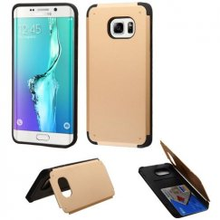 Samsung Galaxy S6 Edge Plus Gold Inverse Advanced Armor Stand Case with Card Wallet