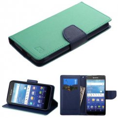 Kyocera Wave / Hydro Air Teal Green Pattern/Dark Blue Liner wallet with Card Slot