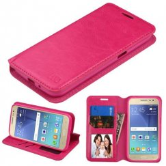 Samsung Galaxy J2 Hot Pink Wallet with Tray