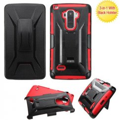 LG G Stylo Black/Red Advanced Armor Stand Case with Black Holster