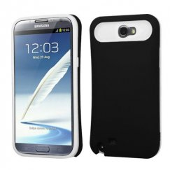 Samsung Galaxy Note 2 Rubberized Black/White Card Wallet Back Case