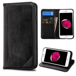 Apple iPhone 8 Plus Black Genuine Leather Wallet