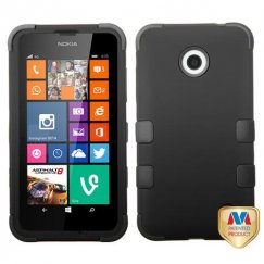 Nokia Lumia 635 Rubberized Black/Black Hybrid Case