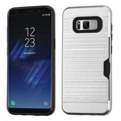 Samsung Galaxy S8 Plus Silver/Black Brushed Hybrid Case with Card Wallet