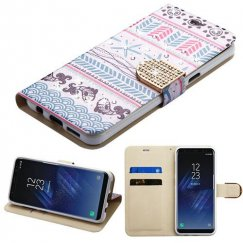 Samsung Galaxy S8 Jumping Fishes Diamante Wallet with Diamante Belt