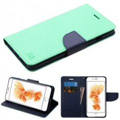 Apple iPhone 8 Plus Teal Green Pattern/Dark Blue Liner wallet with Card Slot