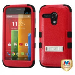 Motorola Moto G Natural Red/Black Hybrid Case with Stand