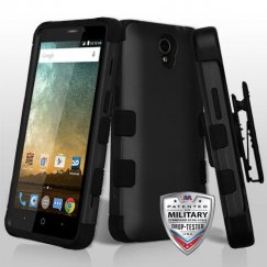 ZTE Prestige 2 Rubberized Black/Black Hybrid Case Military Grade with Black Horizontal Holster