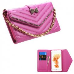 Apple iPhone 8 Plus Hot Pink Premium Quilted Wallet with Bracelet