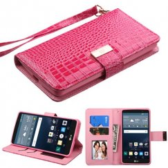 LG G Stylo Hot Pink Crocodile-Embossed Wallet