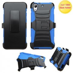 HTC Desire 650 Black/Blue Advanced Armor Stand Case with Black Holster