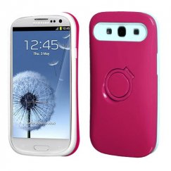 Samsung Galaxy S3 Hot Pink/White Back Case with Ring Stand
