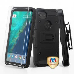 Google Pixel 2 XL Black/Black 3-in-1 Kinetic Hybrid Case Combo with Black Holster and Twin Screen Protectors