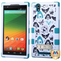 ZTE ZMax Cutedogs/Tropical Teal Hybrid Case with Stand