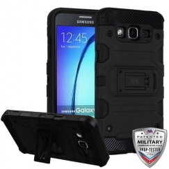 Samsung Galaxy On5 Black/Black Storm Tank Hybrid Case Military Grade