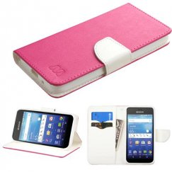 Kyocera Wave / Hydro Air Hot Pink Pattern/White Liner wallet with Card Slot