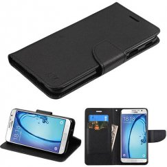 Samsung Galaxy On7 Black Pattern/Black Liner wallet with Card Slot