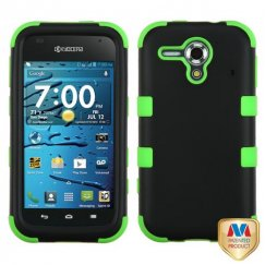 Kyocera Hydro Edge Rubberized Black/Electric Green Hybrid Case