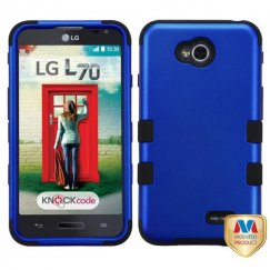LG Optimus L70 Titanium Dark Blue/Black Hybrid Case