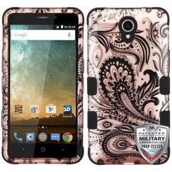 ZTE Prestige 2 Phoenix Flower (2D Rose Gold)/Black Hybrid Case Military Grade