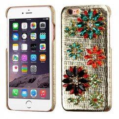 Apple iPhone 6 Plus Flowers(Gold Lizard Skin Leather Backing) Crystal 3D Diamante Case