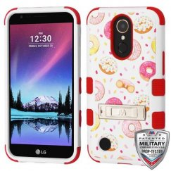 LG K10 Donuts/Red Hybrid Phone Case with Stand