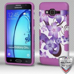 Samsung Galaxy On5 Purple Hibiscus Flower Romance/Electric Purple Hybrid Case Military Grade