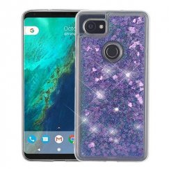 Google Pixel 2 XL Hearts & Purple Quicksand Glitter Hybrid Case