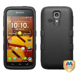 Kyocera Hydro Life / Hydro Icon Rubberized Black/Black Hybrid Case