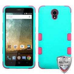 ZTE Prestige 2 Rubberized Teal Green/Electric Pink Hybrid Case Military Grade
