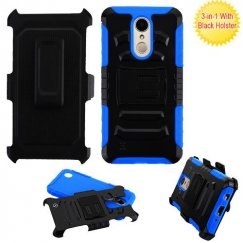LG K8 Black/Blue Advanced Armor Stand Case with Black Holster