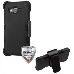 Samsung Galaxy On5 Rubberized Black/Black Hybrid Case with Black Horizontal Holster