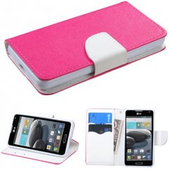 LG Optimus F6 Hot Pink Pattern/White Liner wallet with Card Slot