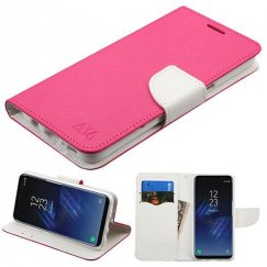Samsung Galaxy S8 Hot Pink Pattern/White Liner wallet with Card Slot