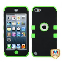 Apple iPod Touch (5th Generation) Rubberized Black/Electric Green Hybrid Case