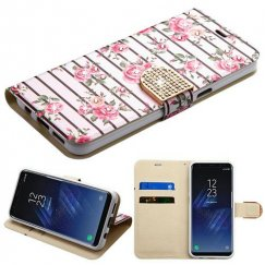 Samsung Galaxy S8 Pink Fresh Roses Diamante Wallet with Diamante Belt
