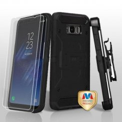 Samsung Galaxy S8 Plus Black/Black 3-in-1 Kinetic Hybrid Case Combo with Black Holster and Twin Screen Protectors