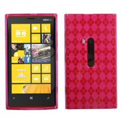 Nokia Lumia 920 Hot Pink Argyle Candy Skin Cover