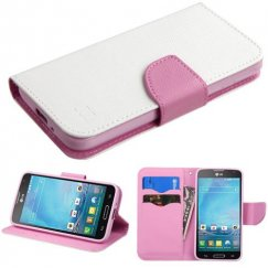 LG Optimus L90 White Pattern/Pink Liner wallet with Card Slot