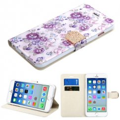 Apple iPhone 6s Fresh Purple Flowers Diamante Wallet with Diamante Belt