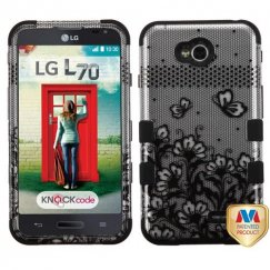 LG Optimus L70 Black Lace Flowers 2D Silver/Black Hybrid Case