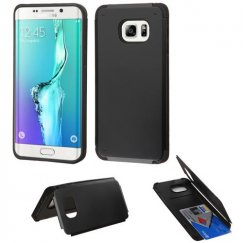 Samsung Galaxy S6 Edge Plus Black Inverse Advanced Armor Stand Case with Card Wallet