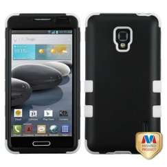 LG Optimus F6 Rubberized Black/Solid White Hybrid Case