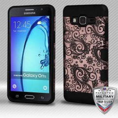 Samsung Galaxy On5 Black Four-Leaf Clover (2D Rose Gold)/Black Hybrid Case Military Grade